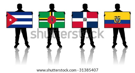set 4 -  illustration of a man holding a flag - stock photo