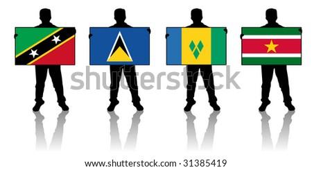 set 8 -  illustration of a man holding a flag - stock photo