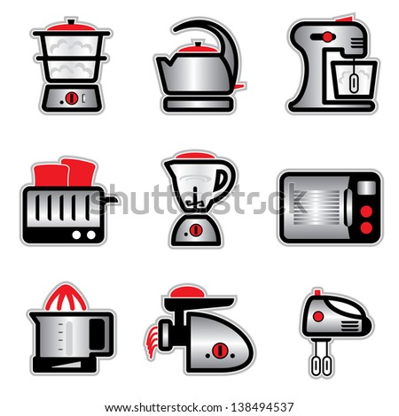 set images and icons of kitchenware and kitchen tools