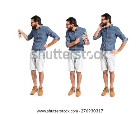 Set images of angry hipster man holding a clock and talking phone