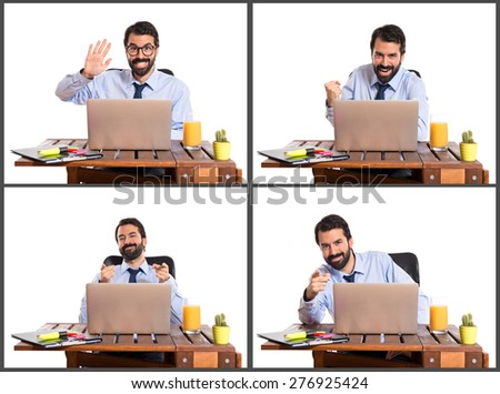 Set images of businessman in his office pointing to the front and saluting - stock photo