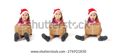 Set images of christmas kid with present
