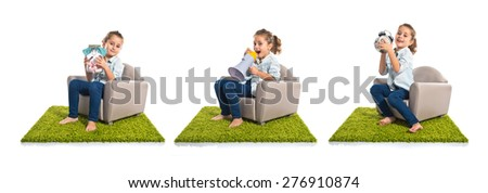 Set images of cute girl shouting by megaphone, clock, and jar with sweets - stock photo