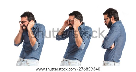 Set images of frustrated young hipster man