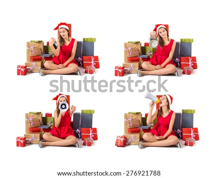 Set images of girl shouting by megaphone around presents