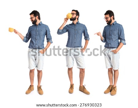 Set images of hipster man holding a cup of coffee