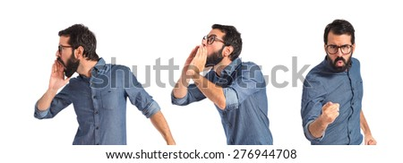 Set images of hipster man pointing and shouting