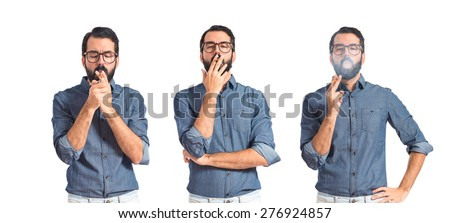 Set images of hipster man smoking