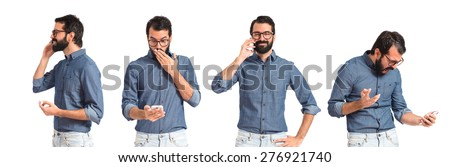 Set images of hipster man talking to mobile - stock photo