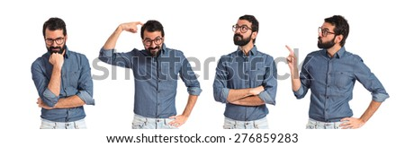 Set images of hipster man thinking