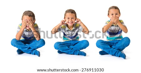 Set images of kid covering his ears mouth and eyes - stock photo