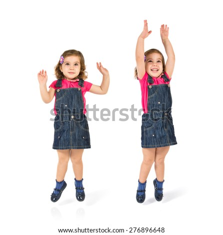 Set images of kid jumping - stock photo