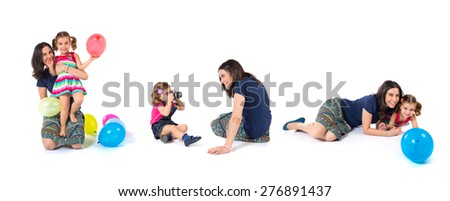 Set images of  kid photographing at her mother and playing with balloons