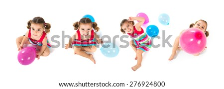 Set images of kid playing with balloons - stock photo