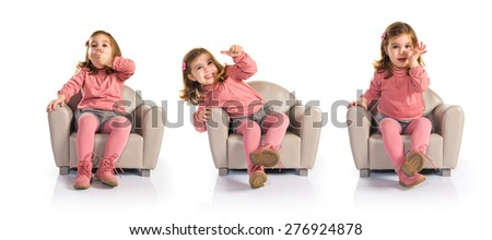 Set images of little girl sitting on armchair - stock photo