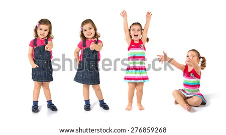 Set images of lucky Kid over isolated white background - stock photo