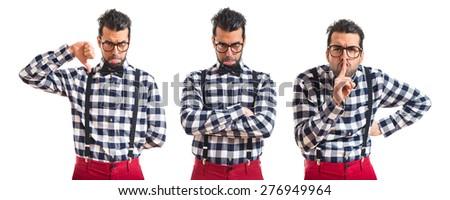 Set images of posh boy doing bad signal  - stock photo