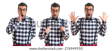 Set images of posh boy doing surprise gesture  - stock photo