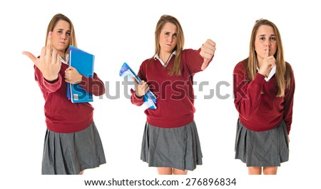 Set images of student doing a bad signal over white background - stock photo