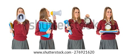Set images of student shouting by megaphone and holding clock - stock photo