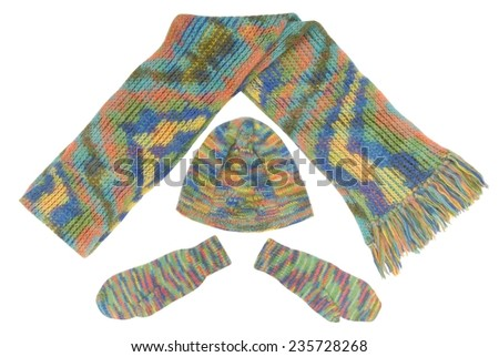 set is out of scarf, hat, mittens - stock photo