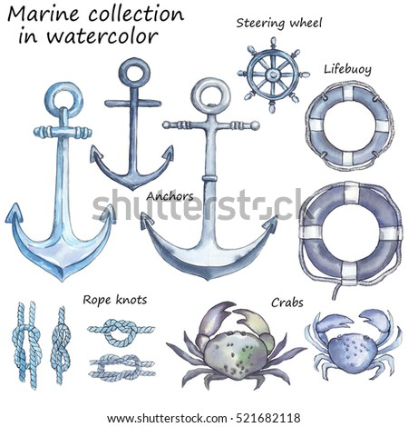 set isolated of marine signs and elements hand drawn in watercolor. Anchor, crab, rope knit, steering wheel, lifesaving wheel. Nautical symbols compilation.