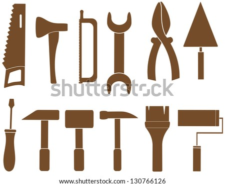 set isolated tools silhouette for repair