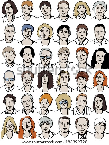 Set isolated  unrecognizable people portraits on white. Collection with different unrecognizable faces. Color illustration with isolated objects.  - stock photo