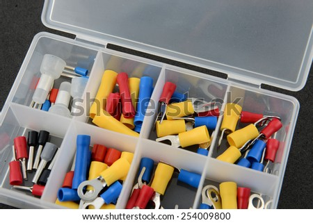 SET Jumper cables head battery on black foam background - stock photo