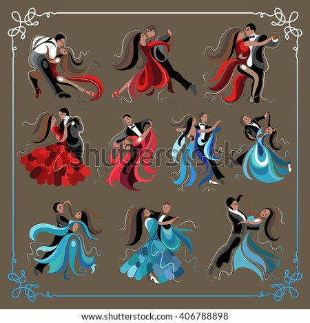 Set (kit) of dancing men and women (waltz and tango). Suitable for invitation, flyer, sticker, poster, banner, card,label, cover, web.  - stock photo