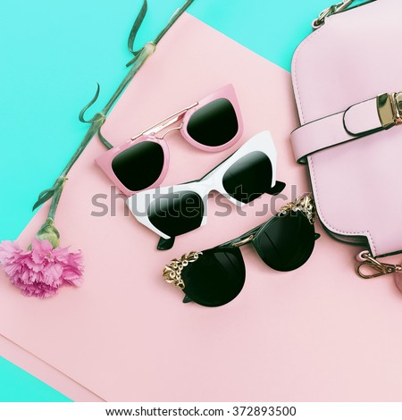 Set Ladies Sunglasses. Choose our Style. Trends of the Season - stock photo