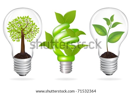 Set Lamps, Eco Concept, Isolated On White Background - stock photo