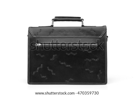 SET  leather black  briefcase .Isolated on the white background.Men's business fashion accessories.Single image.