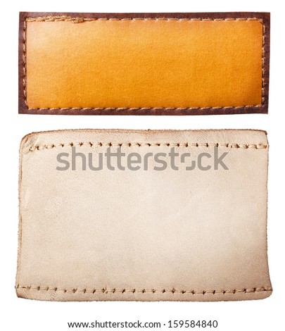 set leather jeans labels are isolated on white - stock photo