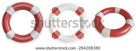 Set lifebuoys isolated on white background. 3d illustration high resolution. - stock photo