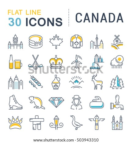Set line icons in flat design Canada, North America and architecture with elements for mobile concepts and web apps. Collection modern infographic logo and pictogram. Raster version
