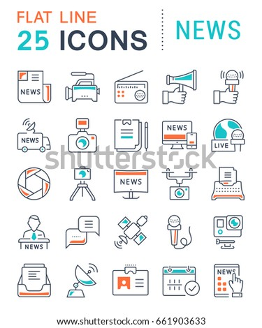 Set line icons, sign and symbols in flat design news with elements for mobile concepts and web apps. Collection modern infographic logo and pictogram. Raster version.