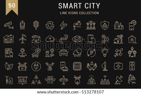 Set  line icons with open path smart sity and technology with elements for mobile concepts and web apps. Collection modern infographic logo and pictogram. Raster version.