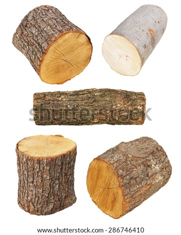set log fire wood  isolated on white background with, oak and beech, clipping path, (high resolution) - stock photo
