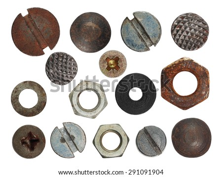 set macro screw heads, bolts, steel nuts, old metal nail, isolated on white background - stock photo