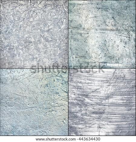 Set metal plate steel background. Hi res textures. - stock photo