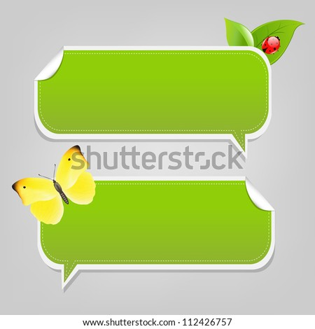 Set Nature Speech Bubble Frames, Isolated On White Background