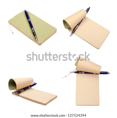 Set of a diary with a blue fountain pen isolated on a white background - stock photo