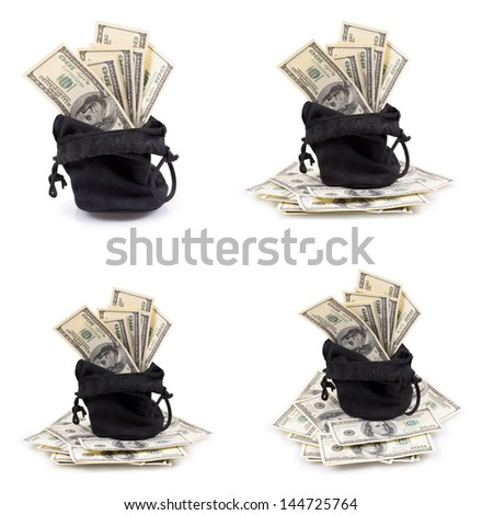 Set of a hundred-dollar bills in a bag isolated on a white background - stock photo