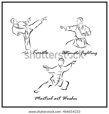 Set of a Illustration shows a Martial arts. Wushu, Karate