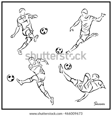 Set of a Illustration shows a Soccer player kicks the ball. Soccer
