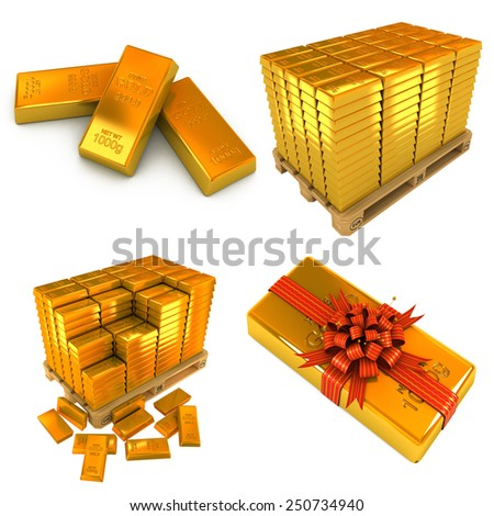 Set of A lot of Gold Bars and Gold Bar as Gift. White Background. - stock photo