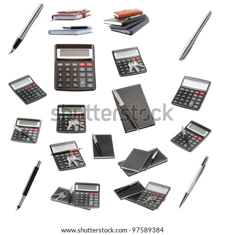 Set of a office objects isolated on a white background - stock photo