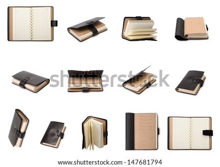 Set of a the diary isolated on a white background - stock photo