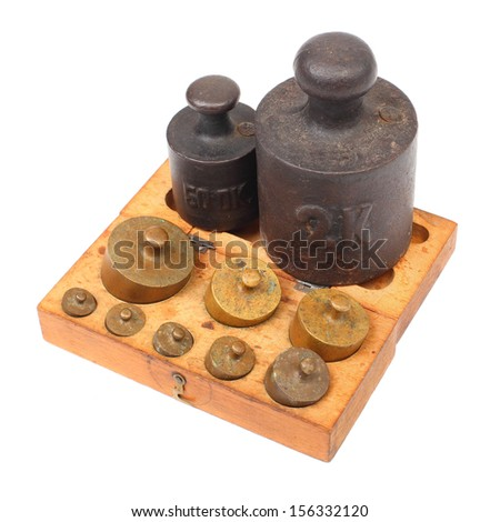 Set of a vintage weights for a old balance scale.  - stock photo